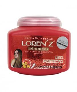 Crema Para Peinar Loren'z Céramidas Liso Perfecto (Colágeno, bio keratina y pantenol - Sin Enjuagar)