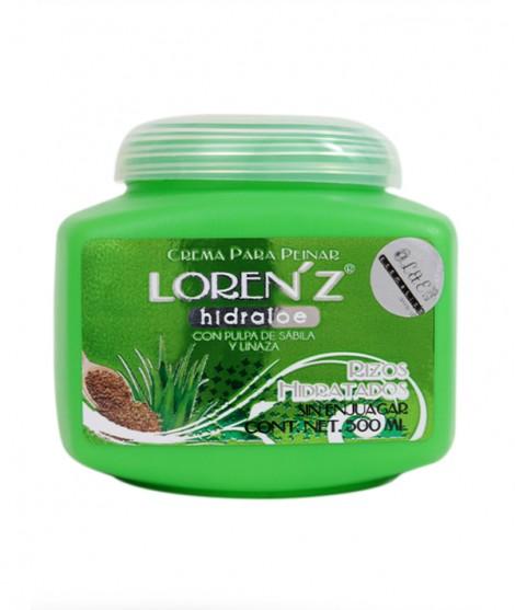 Crema Para Peinar Loren'z Hidraloe Rizos Hidratados (Pulpa de sábila y linaza - Sin Enjuagar)