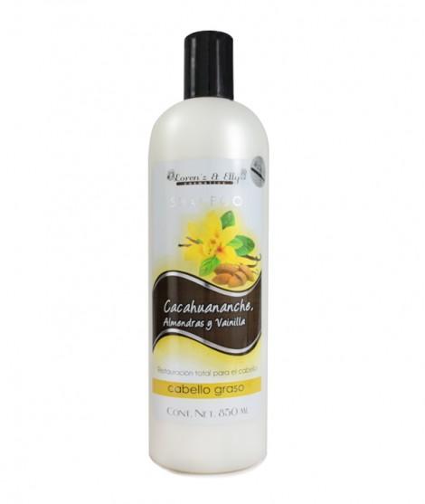 Shampoo Cacahuananche, Almendras Y Vainilla (Restaura el cabello - Cabello graso)